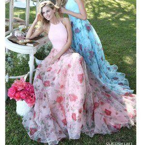 Sherri Hill Organza Print A-line Gown High Neck